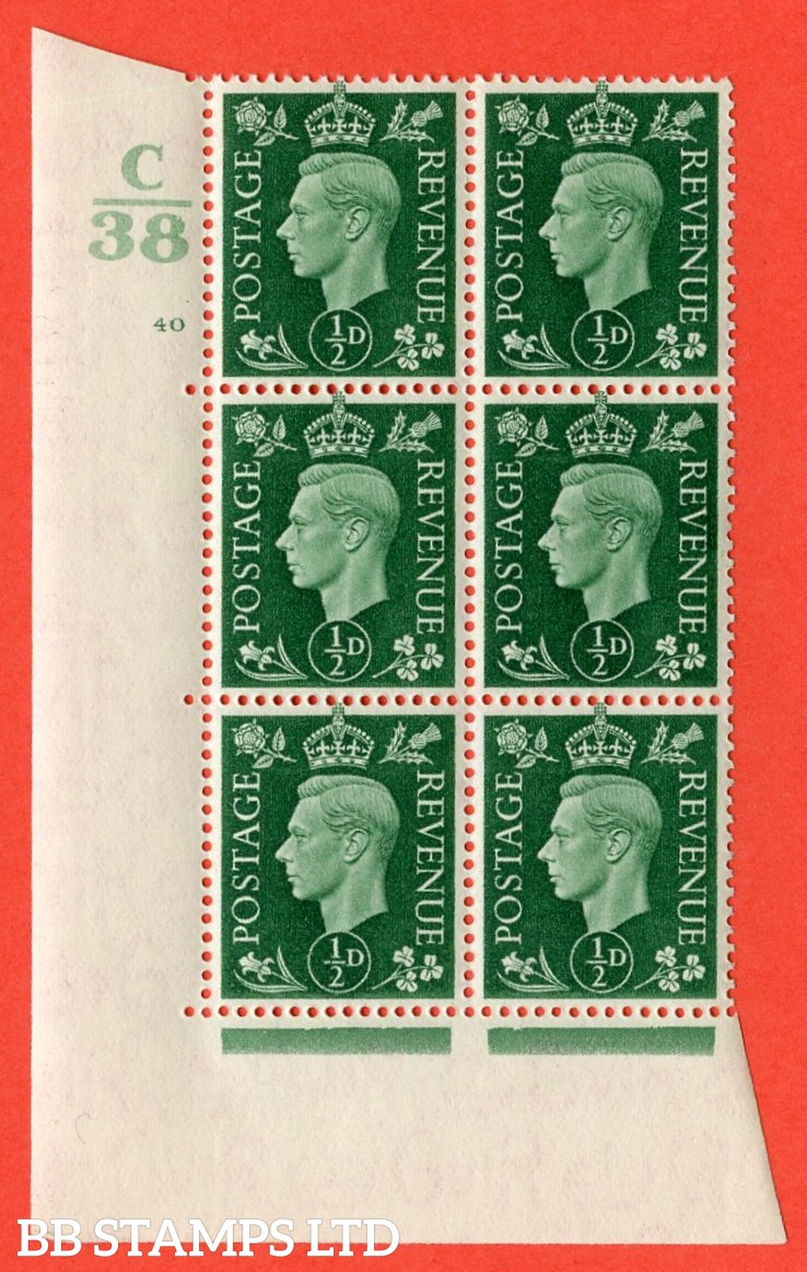"SG. 462. Q1. ½d Green. A fine lightly mounted mint "" Control C38 cylinder 40 no dot "" block of 6 with perf type 5 E/I with marginal rule."