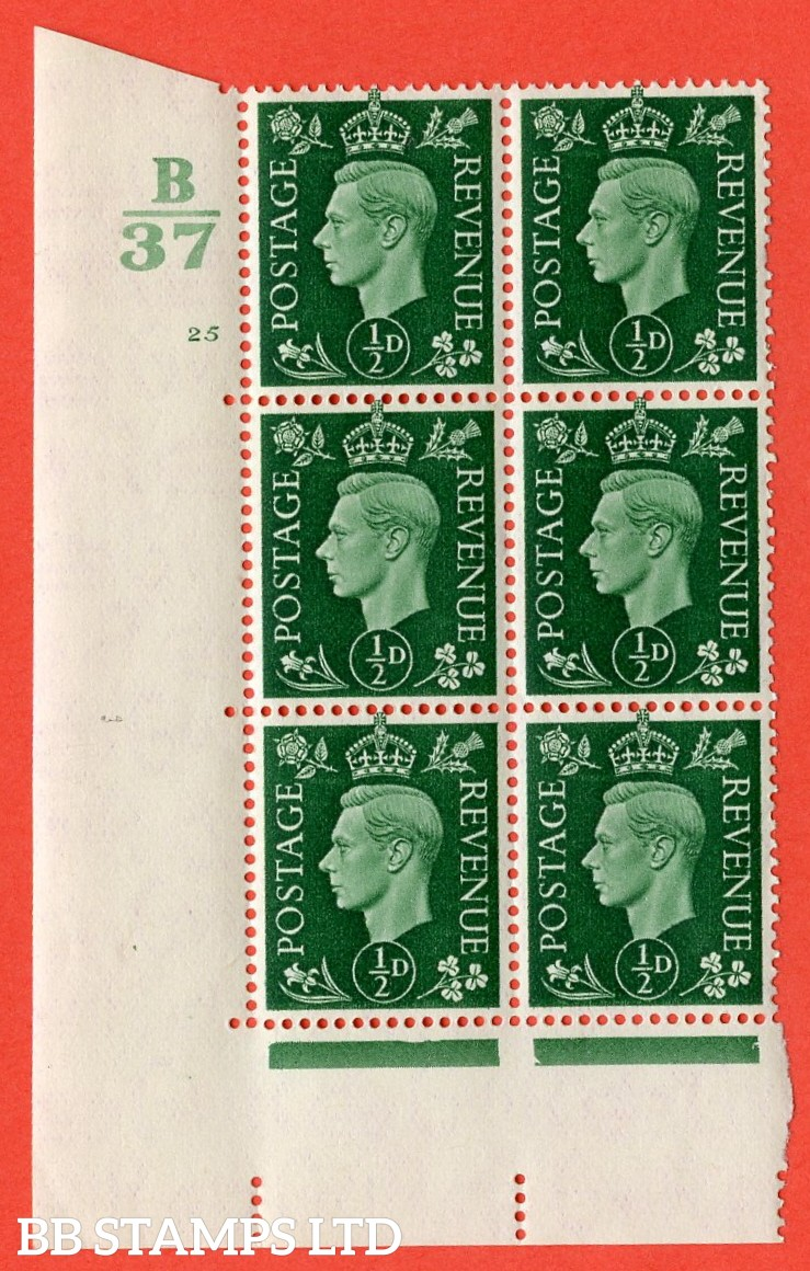"SG. 462. Q1. ½d Green. A superb UNMOUNTED MINT "" Control B37 cylinder 25 no dot "" block of 6 with perf type 5 E/I with marginal rule."