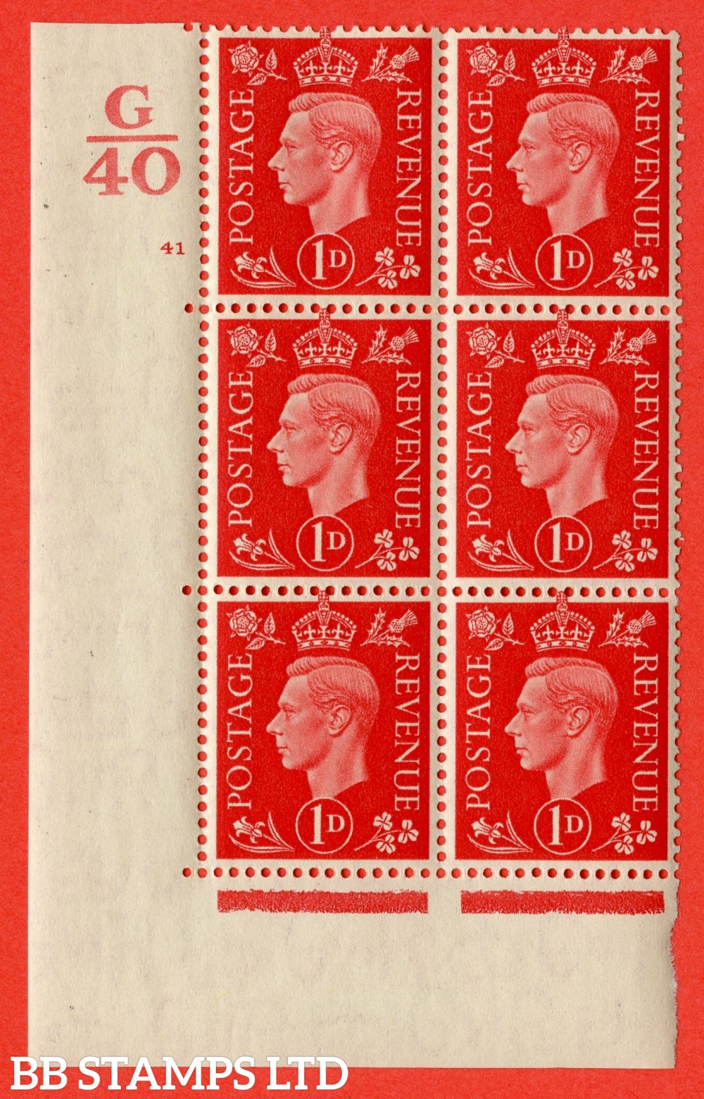 "SG. 463. Q4. 1d Scarlet. A very fine lightly mounted mint "" Control G40 cylinder 41 dot "" block of 6 with perf type 5 E/I with marginal rule."