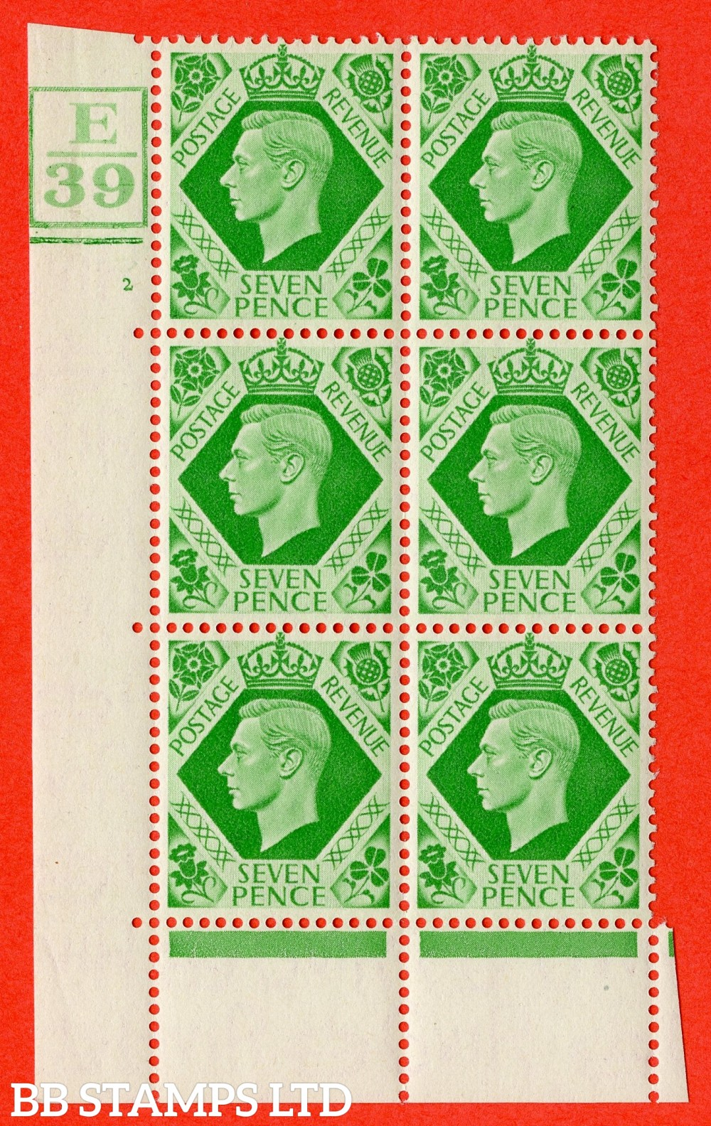 """SG. 471. Q23. 7d Emerald-Green. Asuperb UNMOUNTED MINT """" Control E39 Box and Bar cylinder 2 no dot """" control block of 6 with perf type 6B E/P"""