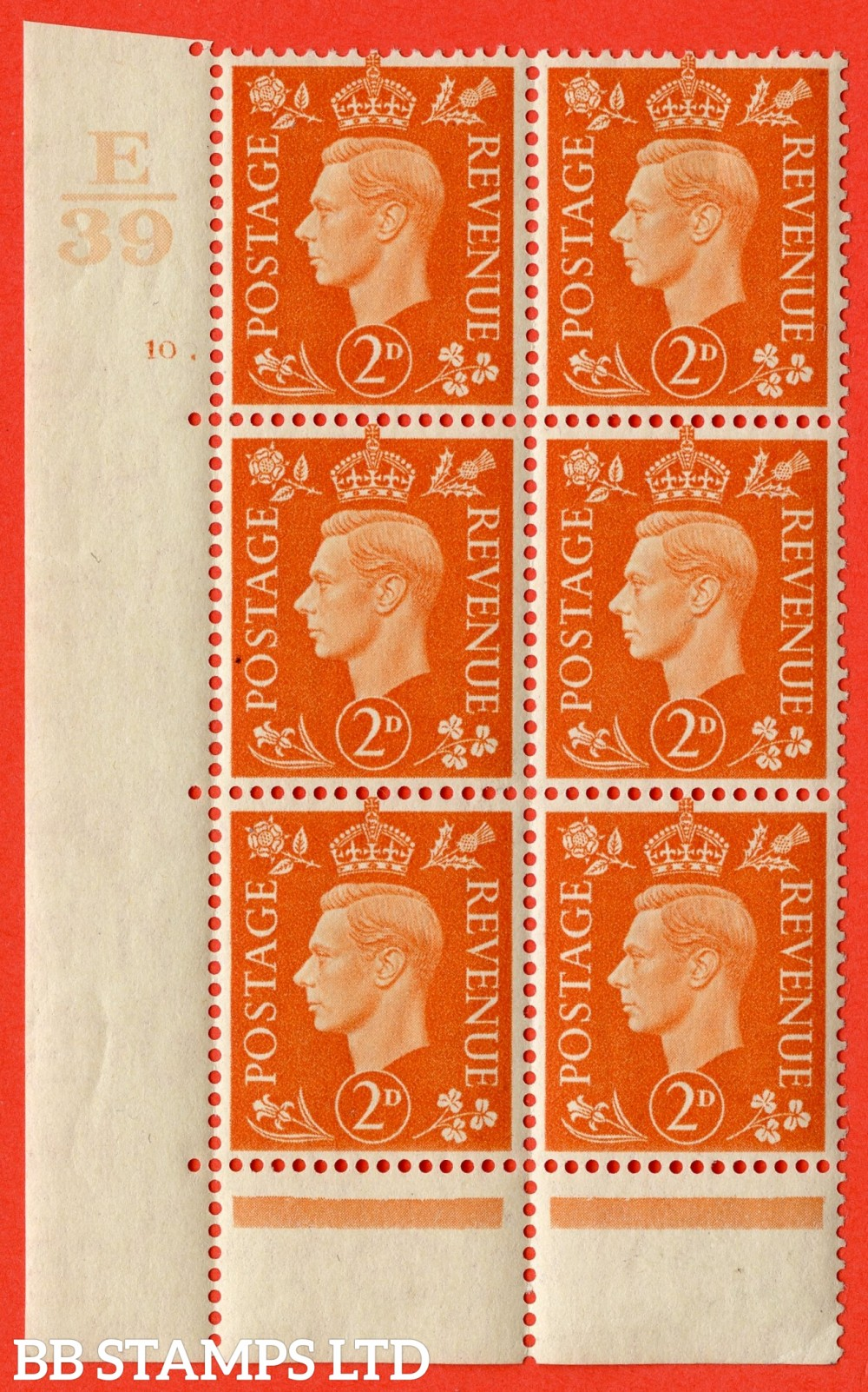 "SG. 465. Q10. 2d Orange. A very fine lightly mounted mint "" Control E39 cylinder 10 dot "" control block of 6 with perf type 6B E/P."