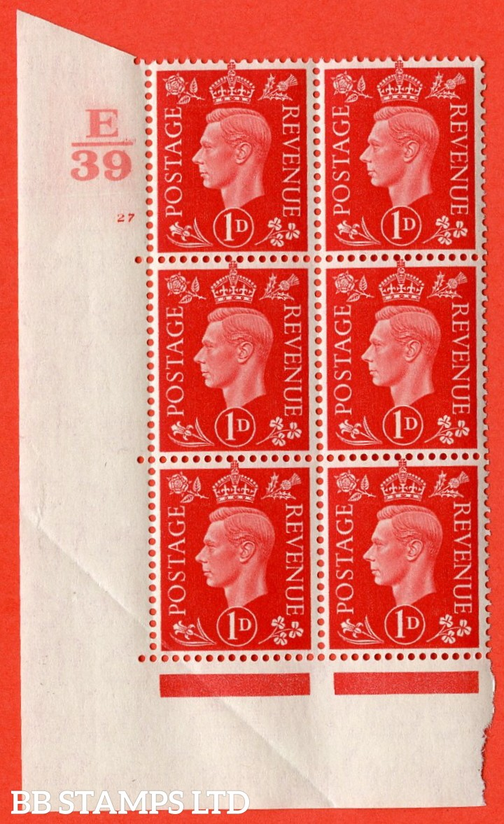 "SG. 463. Q4. 1d Scarlet. A superb UNMOUNTED MINT "" Control E39 cylinder 27 no dot "" block of 6 with perf type 5 E/I with marginal rule. Crease bottom left."