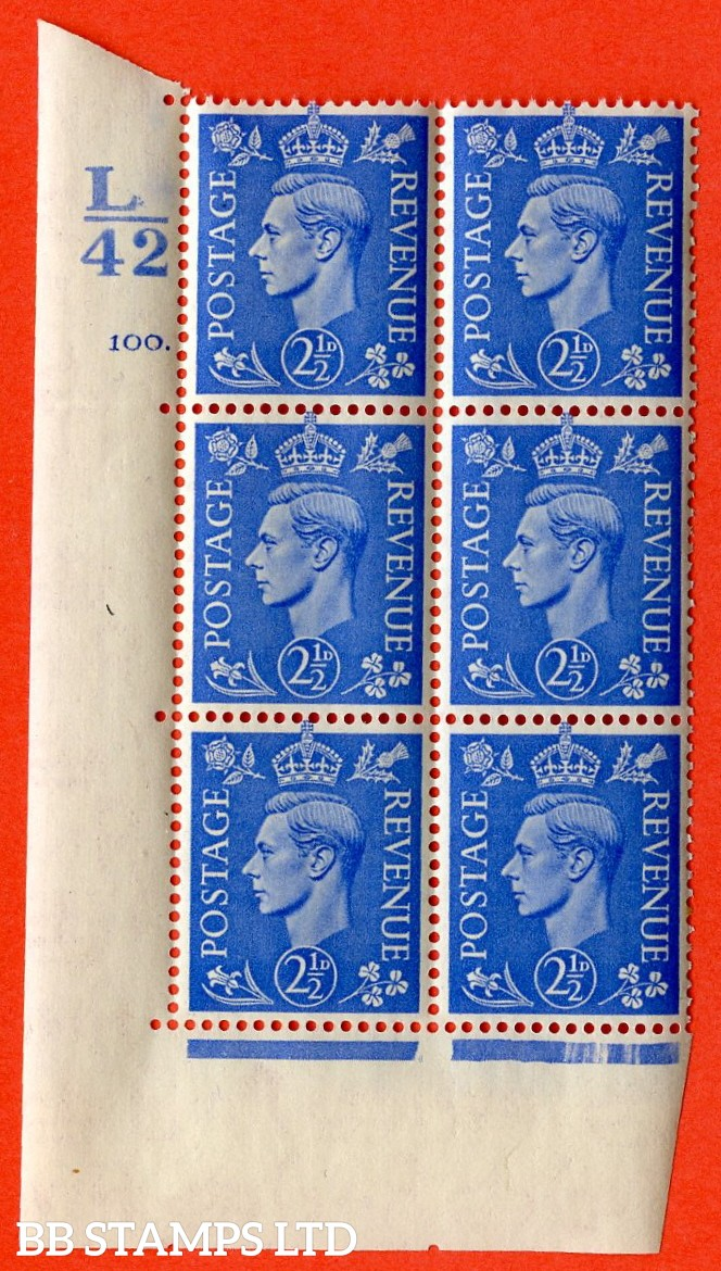 """SG. 489. Q14. 2½d Light ultramarine. A superb UNMOUNTED MINT """" Control L42 cylinder 100 dot """" control block of 6 with perf type 5 E/I."""