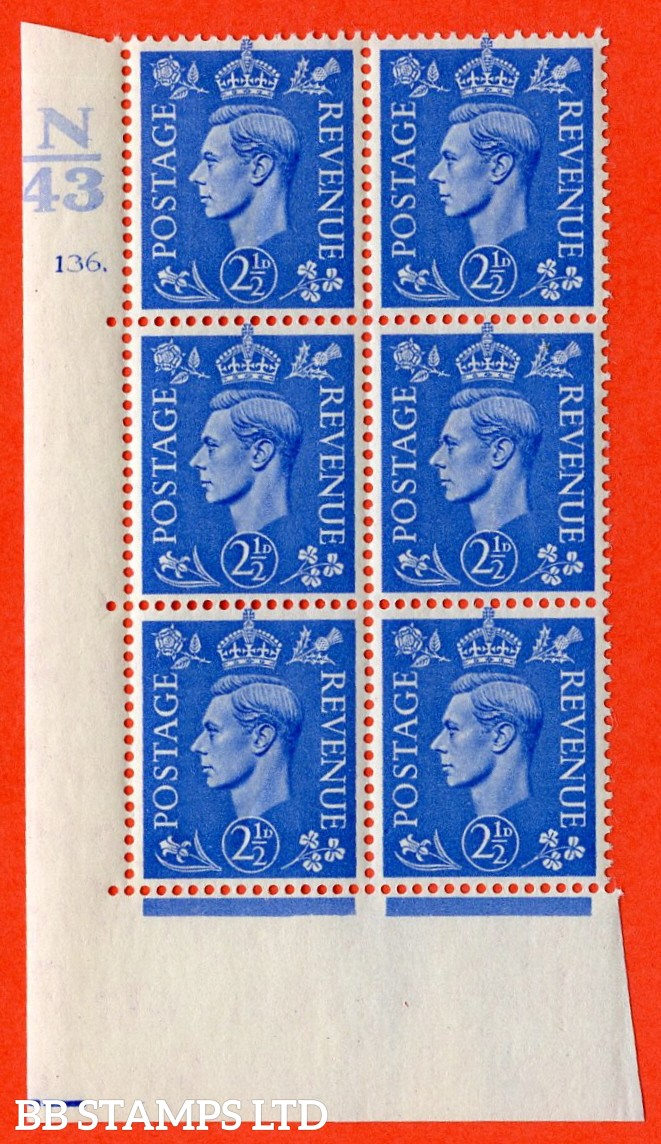 """SG. 489. Q14. 2½d Light ultramarine. A very fine lightly mounted mint """"  Control N43 cylinder 136 dot """" control block of 6 with perf type 5 E/I."""