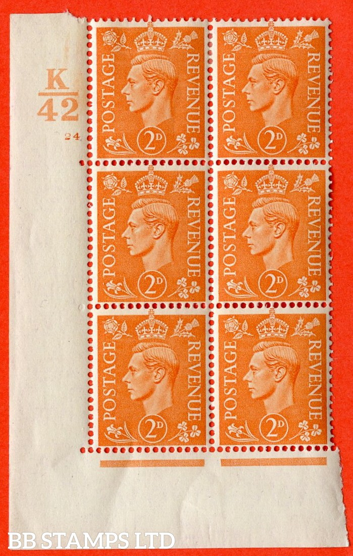 "SG. 488. Q11. 2d Pale Orange. A very fine lightly mounted mint. "" Control K42 cylinder 24 no dot "" control block of 6 with perf type 5 E/I."