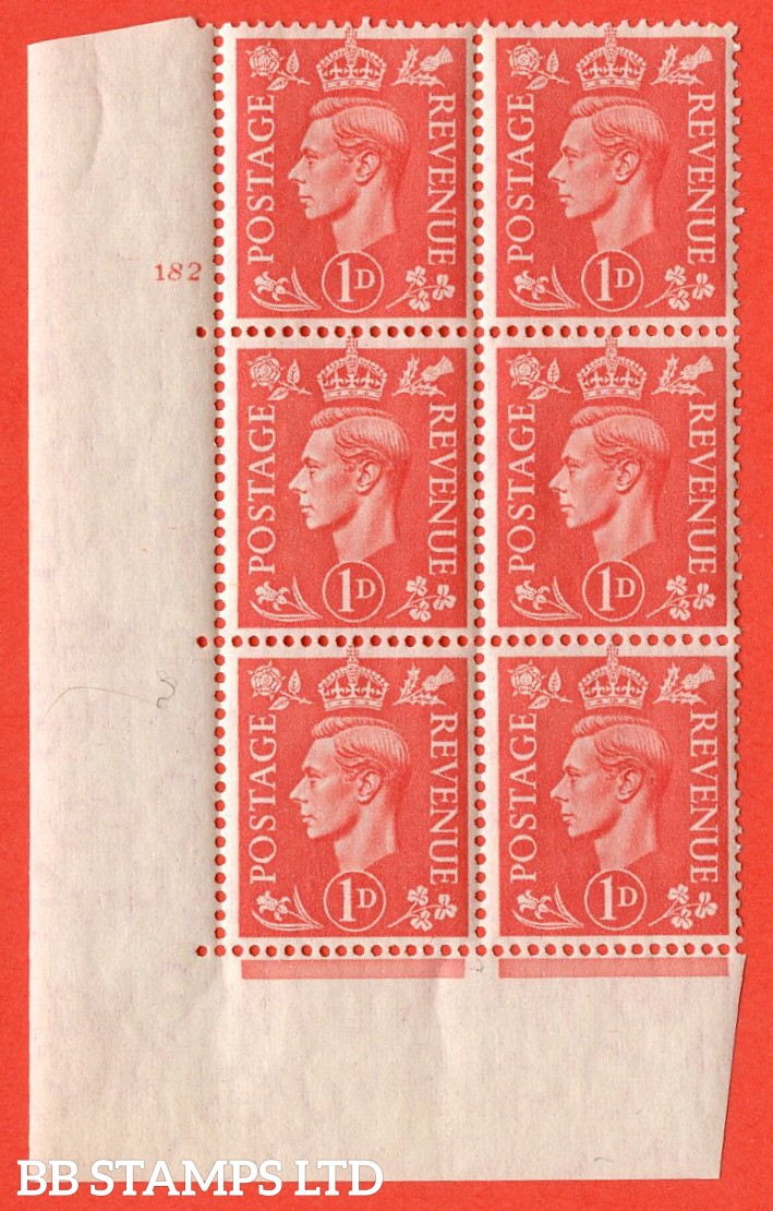 "SG. 486. Q5. 1d Pale scarlet. A superb UNMOUNTED MINT "" No Control cylinder 182 no dot "" control block of 6 with perf type 5 E/I."