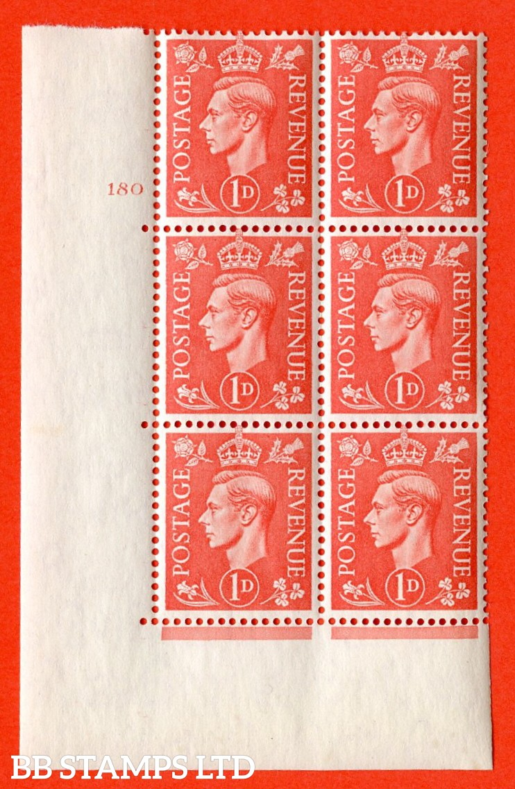 "SG. 486. Q5A. 1d Pale scarlet. A superb UNMOUNTED MINT "" No Control  cylinder 180 no dot "" control block of 6 with perf type 5 E/I."