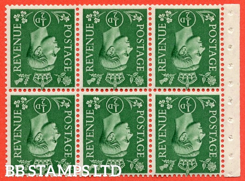SG. 485 wi. QB4 a. ½ pale green. INVERTED WATERMARK. A fine UNMOUNTED MINT booklet pane of 6. Perf type I.