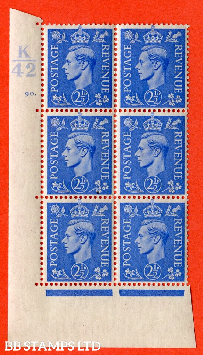 """SG. 489. Q14. 2½d Light ultramarine. A  superb UNMOUNTED MINT """" Control K42 cylinder 90 dot """" control block of 6 with perf type 5 E/I."""