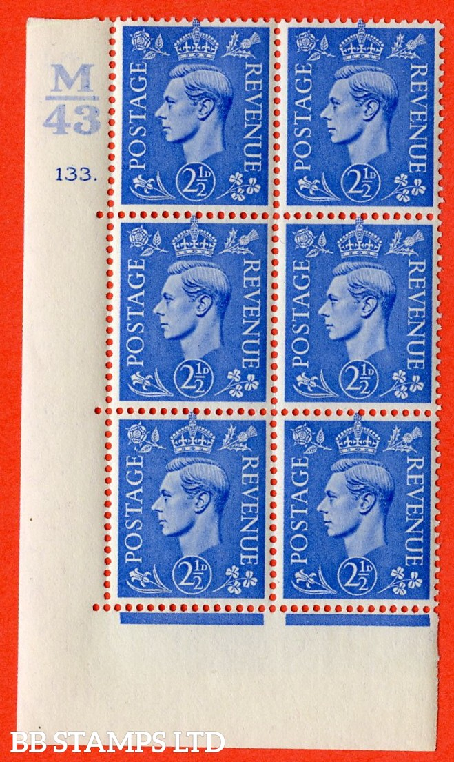 "SG. 489. Q14. 2½d Light ultramarine. A fine lighty mounted mint ""  Control M43 cylinder 133 dot "" control block of 6 with perf type 5 E/I."