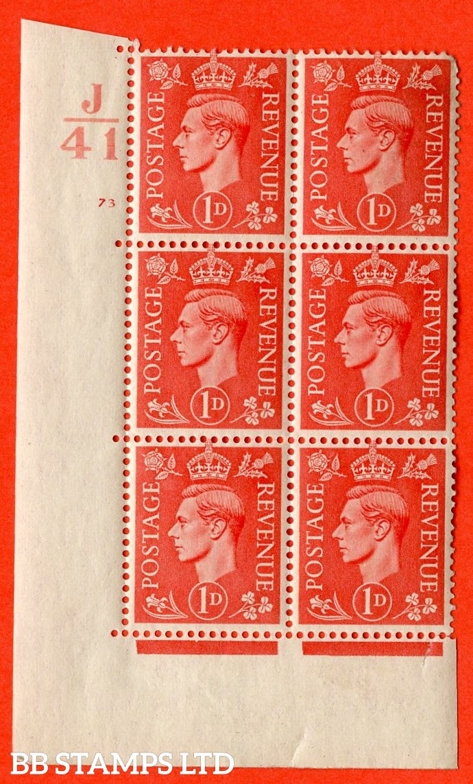 """SG. 486. Q5. 1d Pale scarlet. A superb UNMOUNTED MINT """"  Control J41 cylinder 73 no dot """" control block of 6 with perf type 5 E/I."""