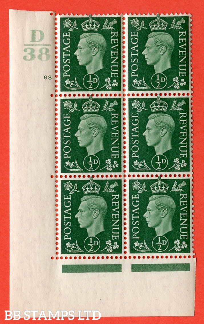 "SG. 462. Q1. ½d Green. A superb UNMOUNTED MINT"" Control D38 cylinder 68 no dot "" block of 6 with perf type 5 E/I with marginal rule."