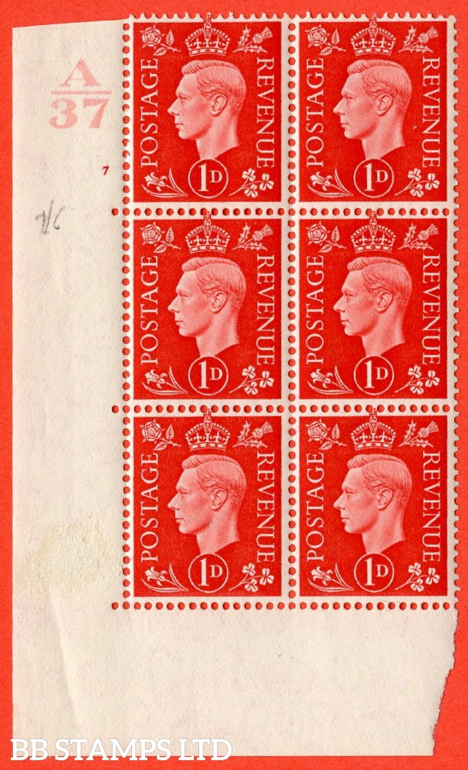 "SG. 463. Q4. 1d Scarlet. A fine lightly mounted mint "" Control A37 cylinder 37 no dot "" block of 6 with perf type 5 E/I without marginal rule."