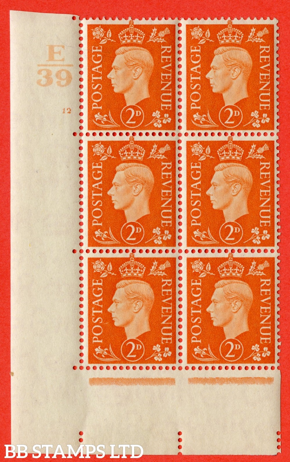"SG. 465. Q10. 2d Orange. A very fine lightly mounted mint "" Control E39 cylinder 12 no dot "" control block of 6 with perf type 5 E/I."