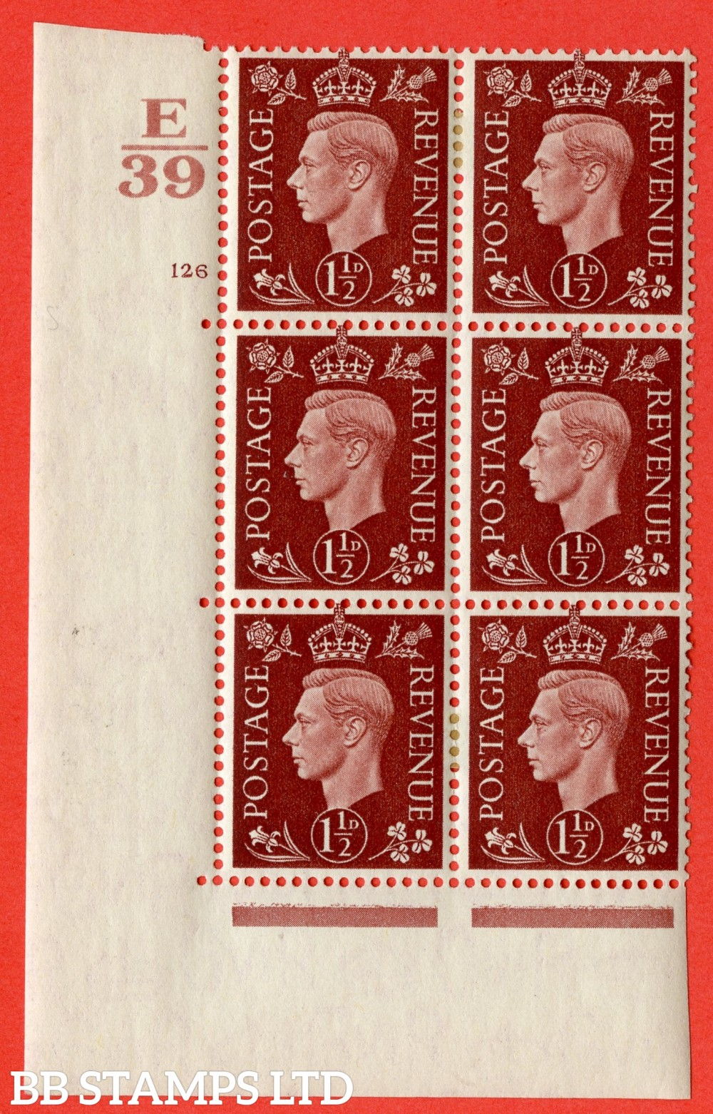 "SG. 464. Q7. 1½d Red-Brown. A very fine mounted mint "" Control E39 cylinder 126 no dot "" control block of 6 with perf type 5 E/I. with marginal rule."