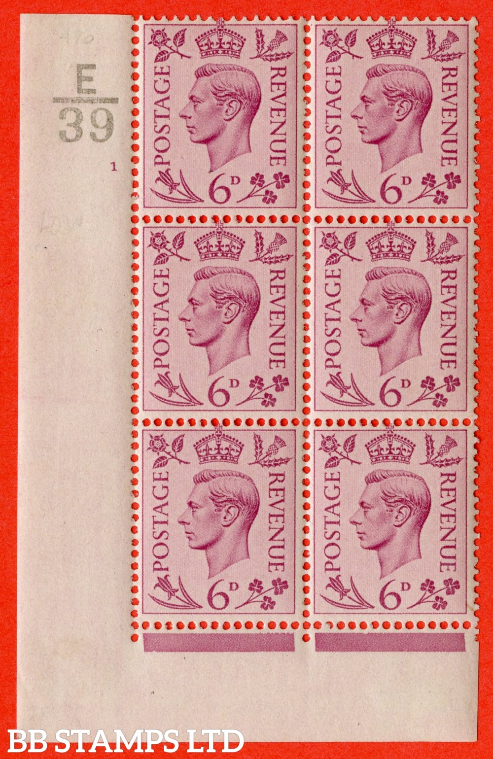 """SG. 470. Q22. 6d Purple. A very fine lightly mounted mint """" Control E39 cylinder 1 no dot """" control block of 6 with perf type 2 I/E"""