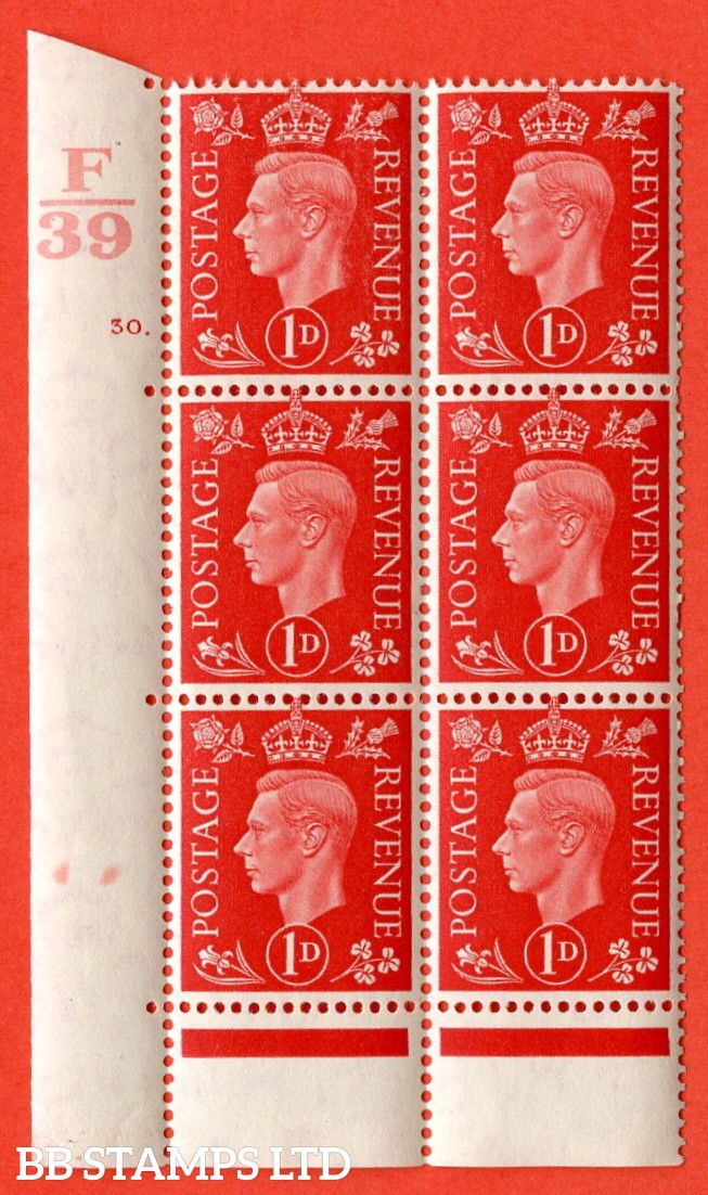 "SG. 463. Q4. 1d Scarlet. A superb UNMOUNTED MINT "" Control F39 cylinder 30 dot "" block of 6 with perf type 6 E/P with marginal rule."