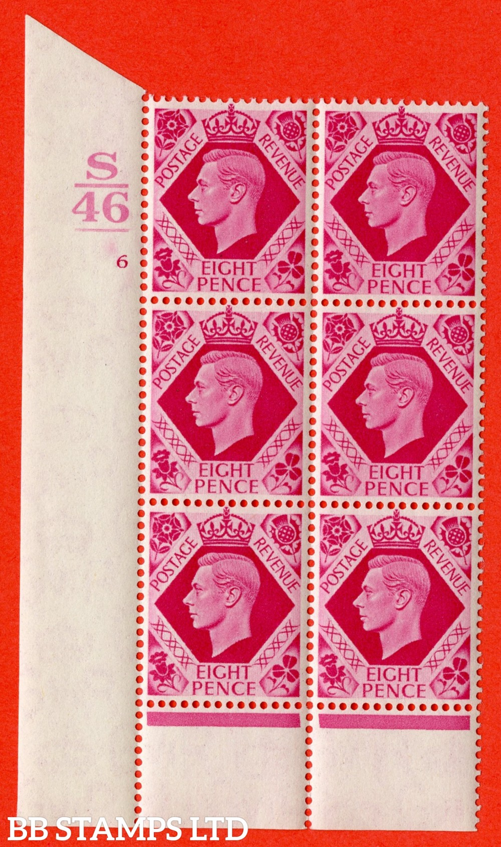 "SG. 472. b. Q24. 8d Carmine. A very fine UNMOUNTED MINT "" Control S46. 1 Bar. Cylinder 6 no dot "" control block of 6 with perf type 6 I/P with listed variety "" Hole in leaf "" row 20/1."