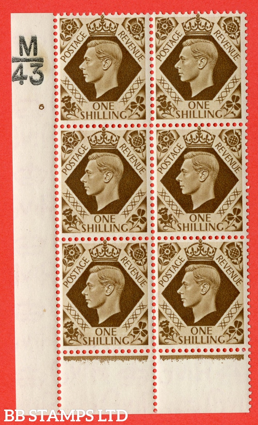 "SG. 475. Q28. 1/- Bistre-Brown. A fine lightly mounted mint "" Control M43 cylinder 6 no dot "" control block of 6 with perf type 6 I/P."