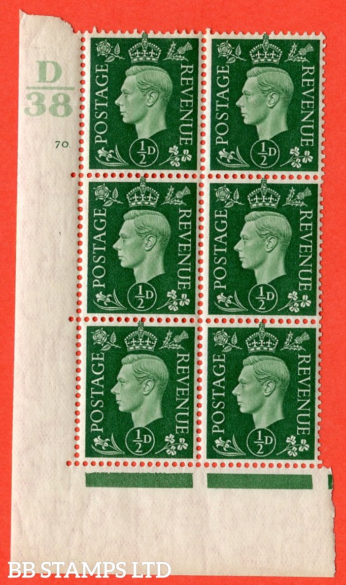 "SG. 462. Q1. ½d Green. A superb UNMOUNTED MINT"" Control D38 cylinder 70 no dot "" block of 6 with perf type 5 E/I with marginal rule."