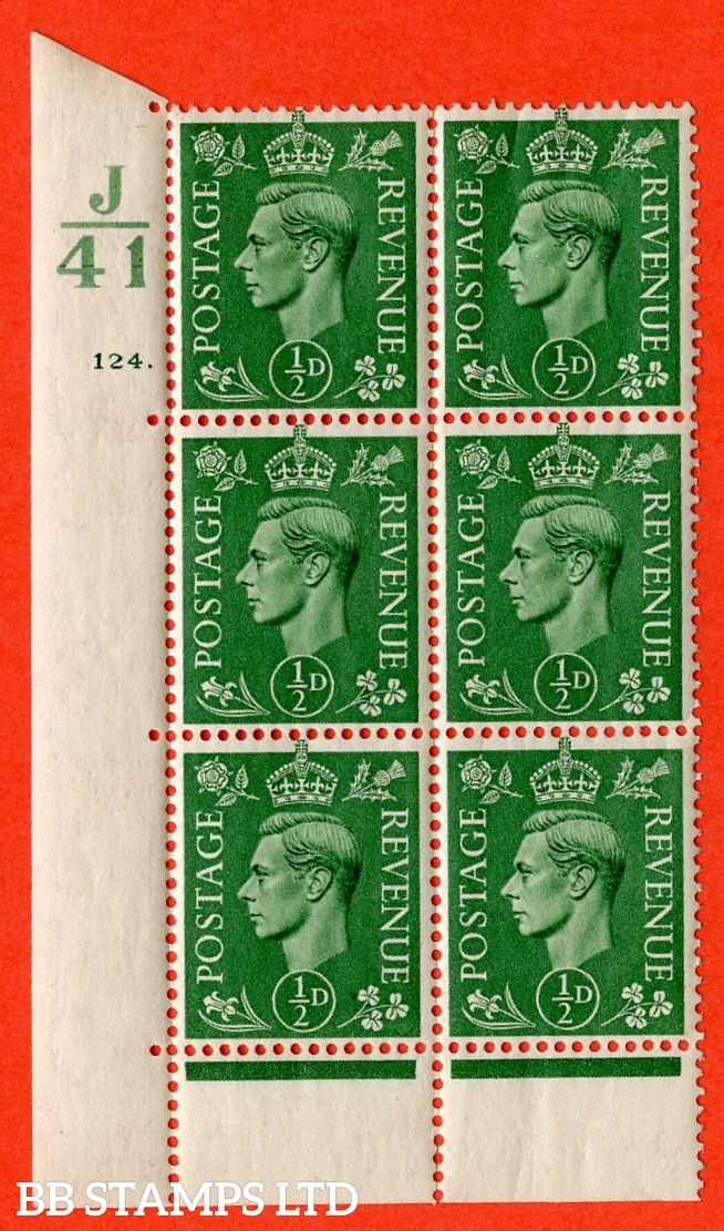"SG. 485. Q2. ½d Pale Green. A superb UNMOUNTED MINT ""  Control J41 cylinder 124 dot "" control block of 6 with perf type 6B E/P."