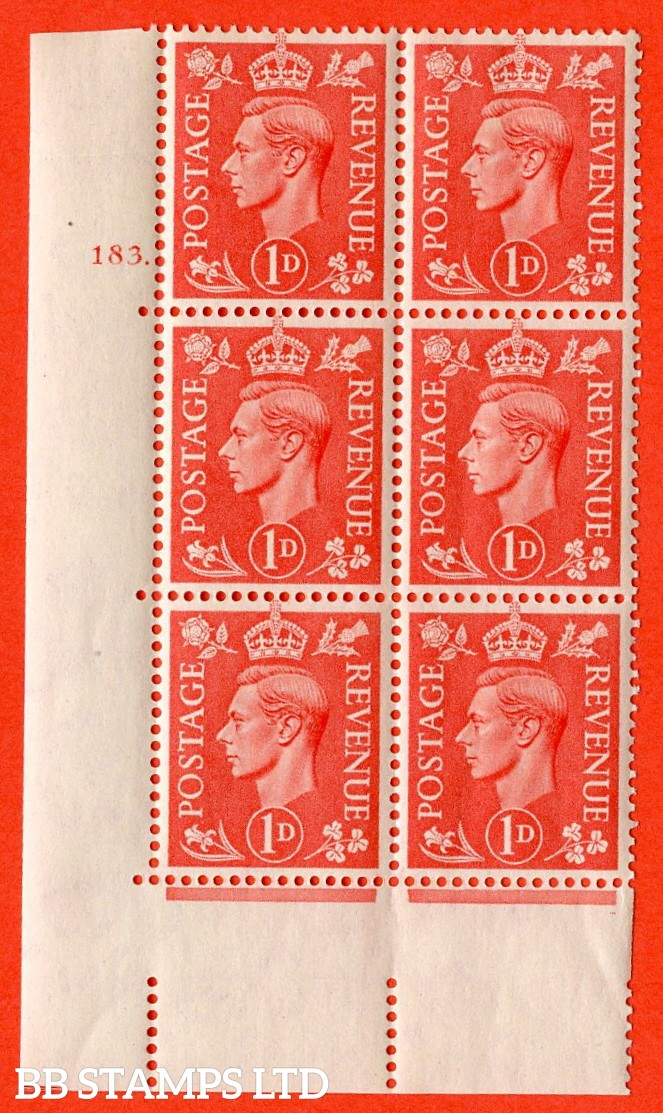 "SG. 486. Q5A. 1d Pale scarlet. A superb UNMOUNTED MINT "" No Control  cylinder 183 dot "" control block of 6 with perf type 5 E/I."