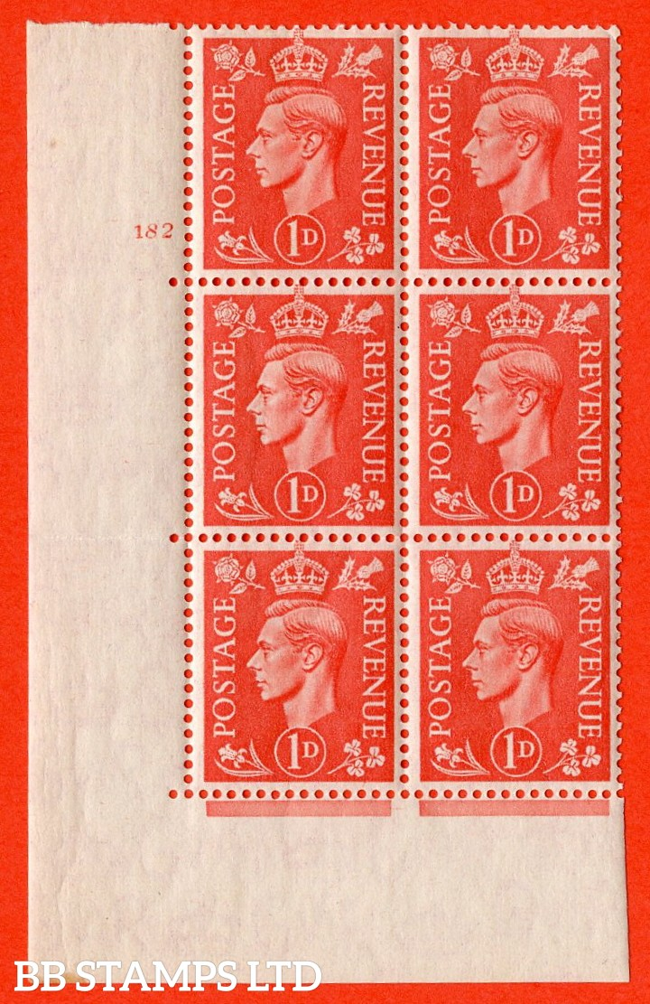 "SG. 486. Q5. 1d Pale scarlet. A Superb UNMOUNTED MINT "" No Control cylinder 182 no dot "" control block of 6 with perf type 5 E/I. Crease in margin"