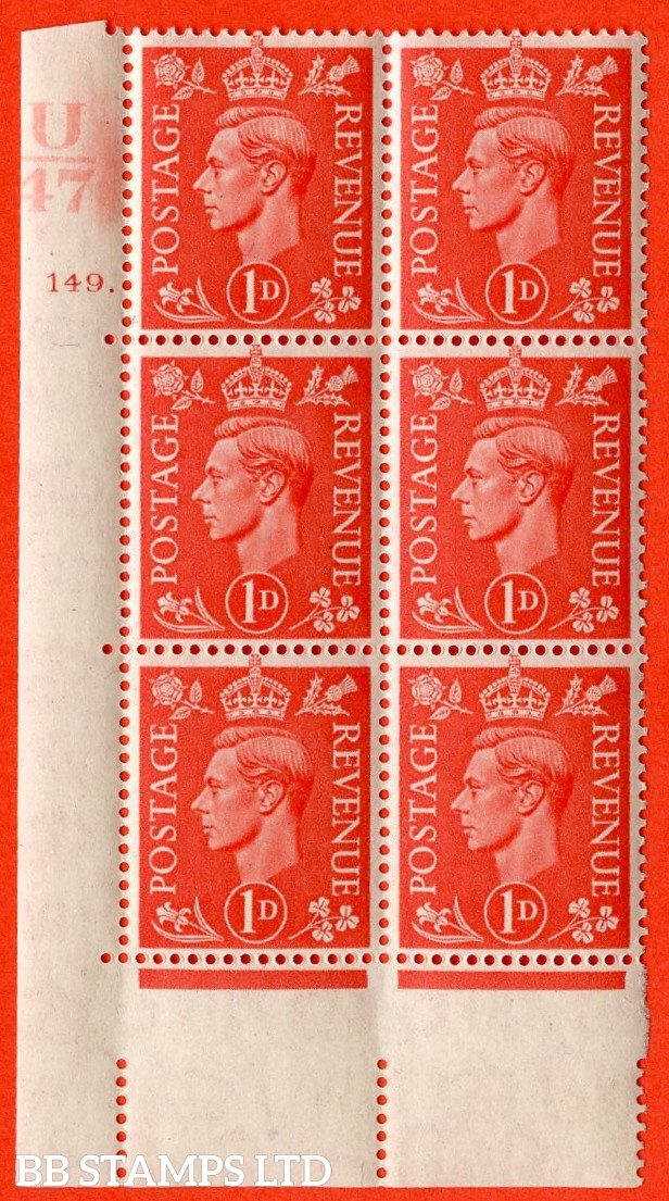 "SG. 486. Q5. 1d Pale scarlet. A superb UNMOUNTED MINT ""  Control U47 cylinder 149 dot "" control block of 6 with perf type 5 E/I."