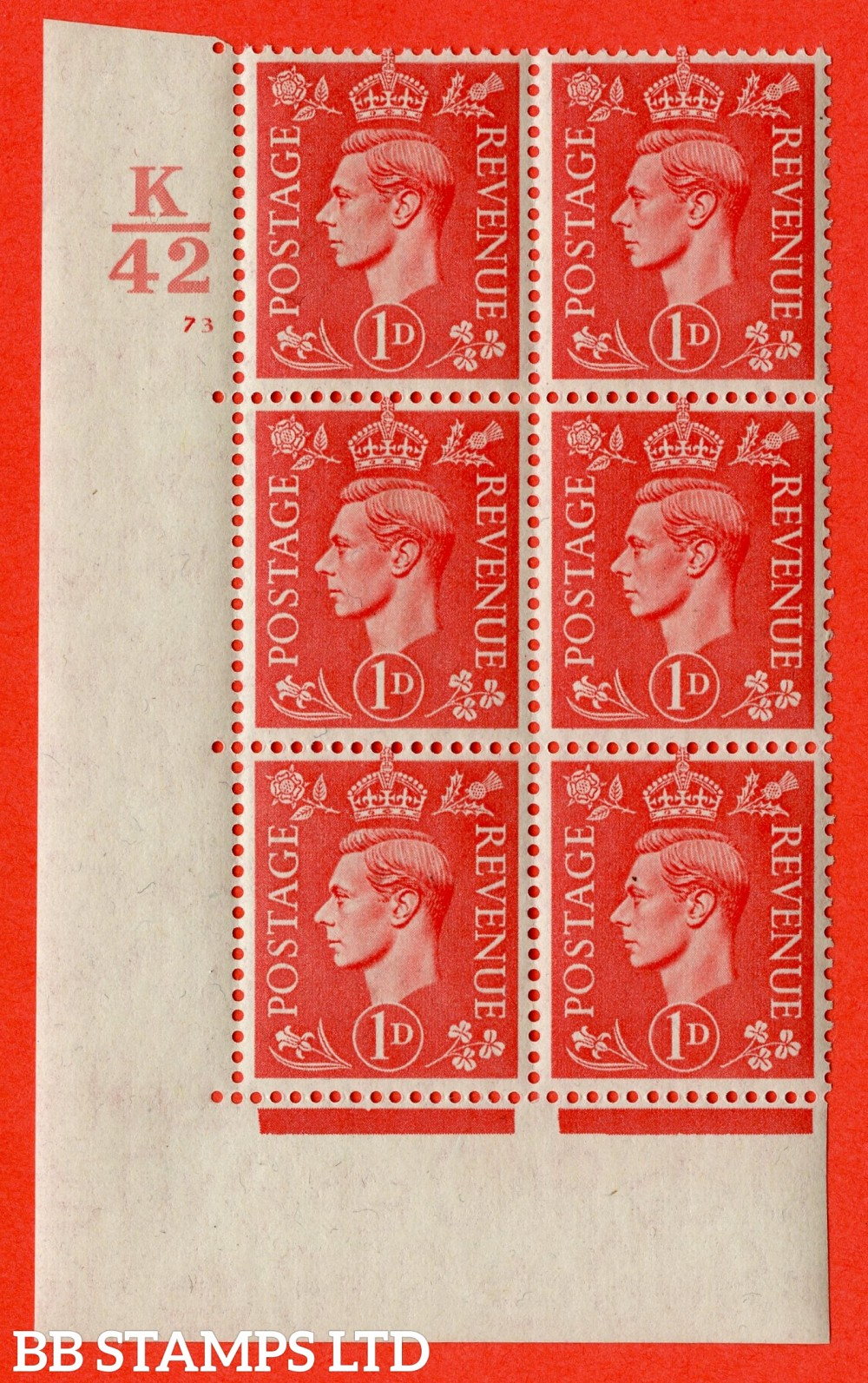 "SG. 486. Q5. 1d Pale scarlet. A fine lightly mounted mint "" Control K42 cylinder 73 no dot "" control block of 6 with perf type 5 E/I."
