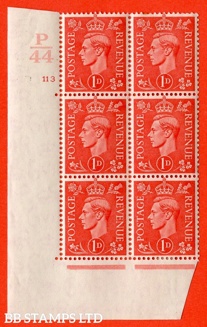 "SG. 486. Q5. 1d Pale scarlet. A fine lightly mounted mint "" Control P44 cylinder 113 no dot "" control block of 6 with perf type 5AE AE/I."