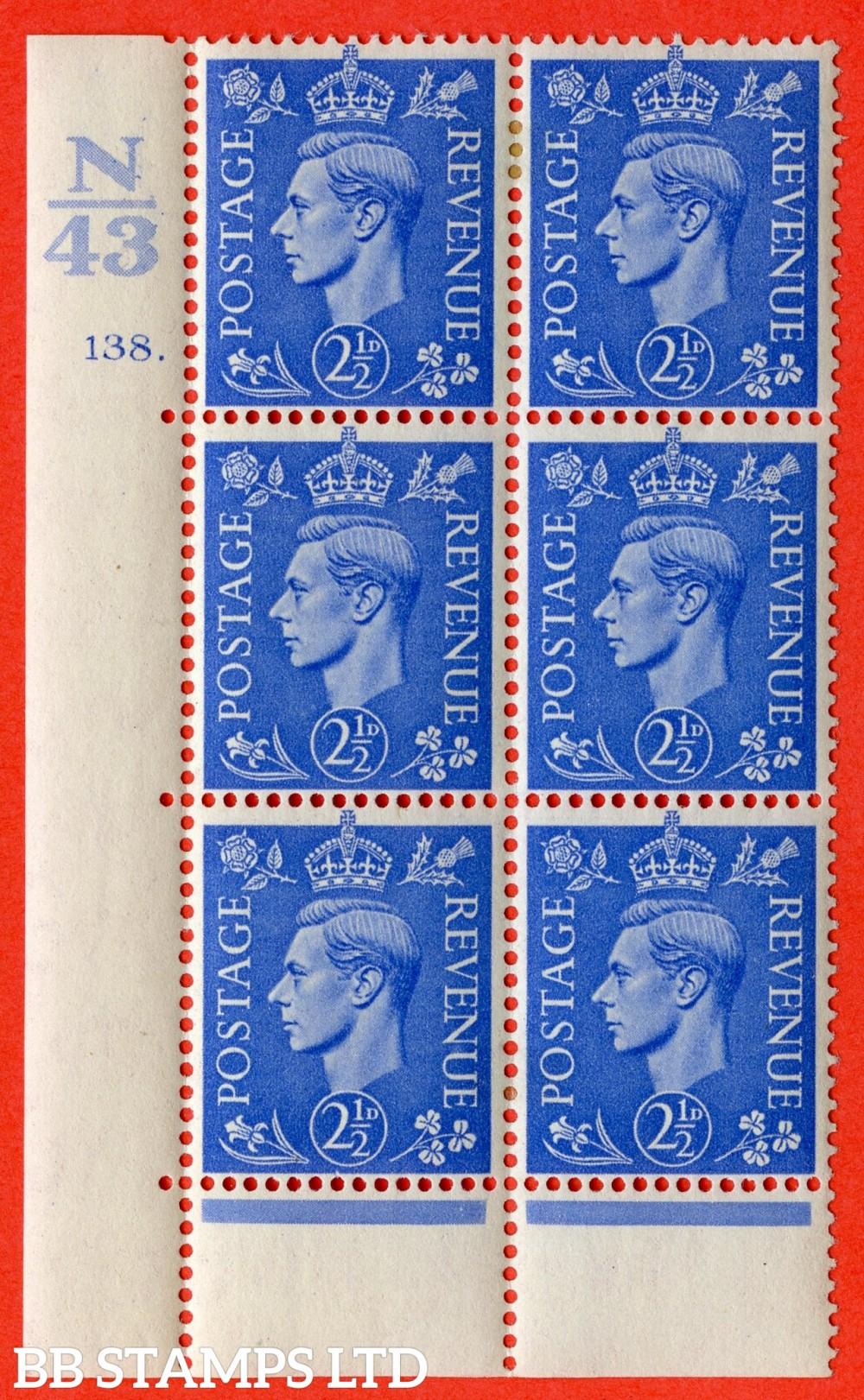 """SG. 489. Q14. 2½d Light ultramarine. A very fine lightly mounted mint """"  Control N43 cylinder 138 dot """" control block of 6 with perf type 6B E/P."""