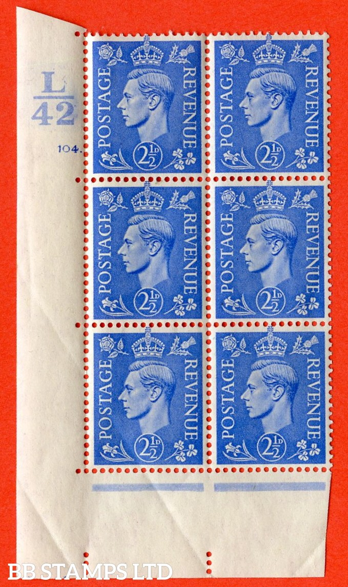 "SG. 489. Q14. 2½d Light ultramarine. A superb UNMOUNTED MINT "" Control L42 cylinder 104 dot "" control block of 6 with perf type 5 E/I. Creased."