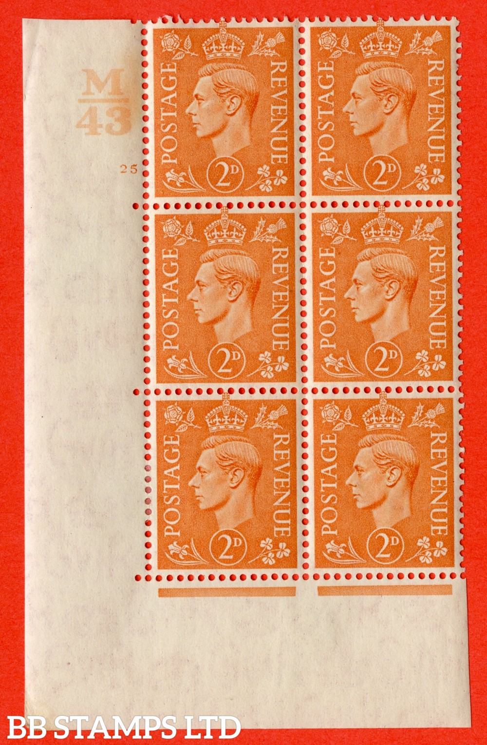 "SG. 488. Q11. 2d Pale Orange. A fine ligthtly mounted mint "" Control M43 cylinder 25 no dot "" control block of 6 with perf type 5 E/I."