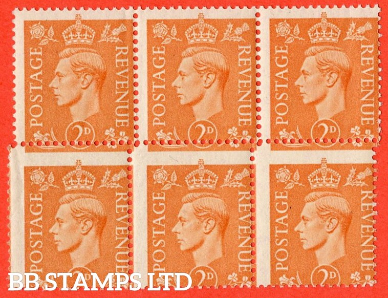 SG. 488. 2d pale orange. A super UNMOUNTED MINT block of 6 with a fine MIS- PERF error.