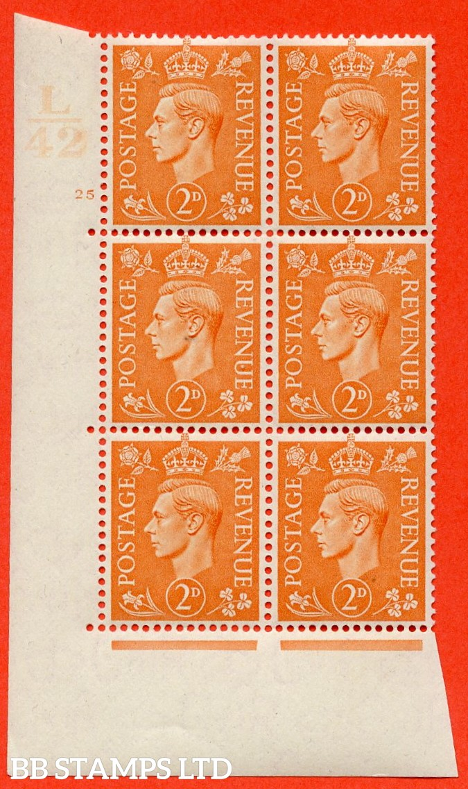 "SG. 488. Q11. 2d Pale Orange. A very fine lightly mounted mint. "" Control L42 cylinder 25 no dot "" control block of 6 with perf type 5 E/I."