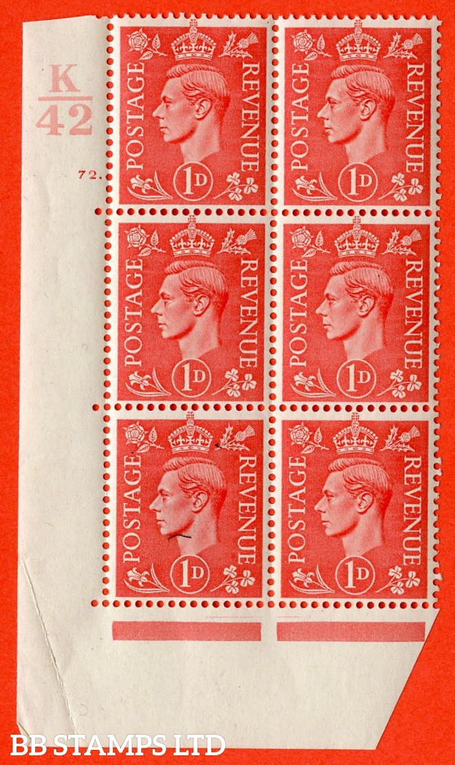 """SG. 486. Q5. 1d Pale scarlet. A superb UNMOUNTED MINT """" Control K42 cylinder 72 dot """" control block of 6 with perf type 5 E/I. Crease in margin."""