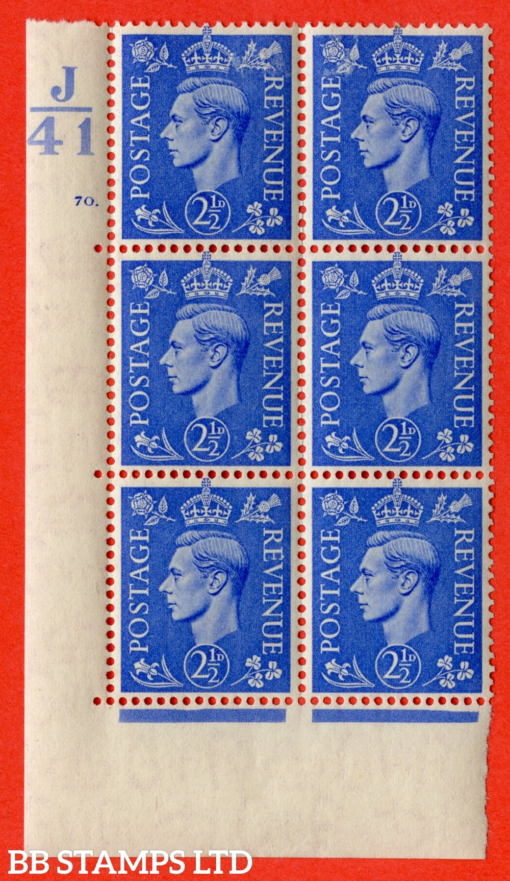 "SG. 489. Q14. 2½d Light ultramarine. A very fine lightly mounted mint ""  Control J41 cylinder 70 dot "" control block of 6 with perf type 5 E/I."