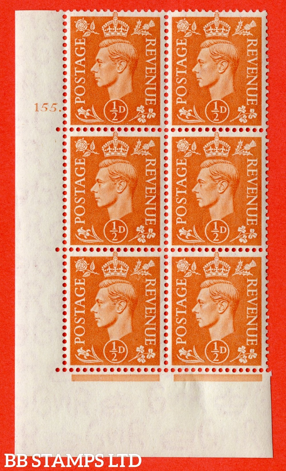 """SG. 503. Q3. ½d Pale Orange. A very fine lightly mounted mint """" No Control cylinder 155 dot """" control block of 6 with perf type 5 E/I."""