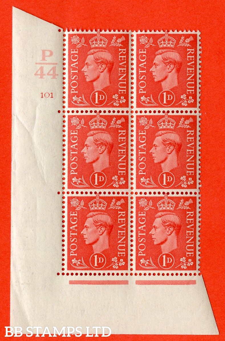 "SG. 486. Q5. 1d Pale scarlet. A superb UNMOUNTED MINT ""  Control P44 cylinder 101 no dot "" control block of 6 with perf type 5 E/I."
