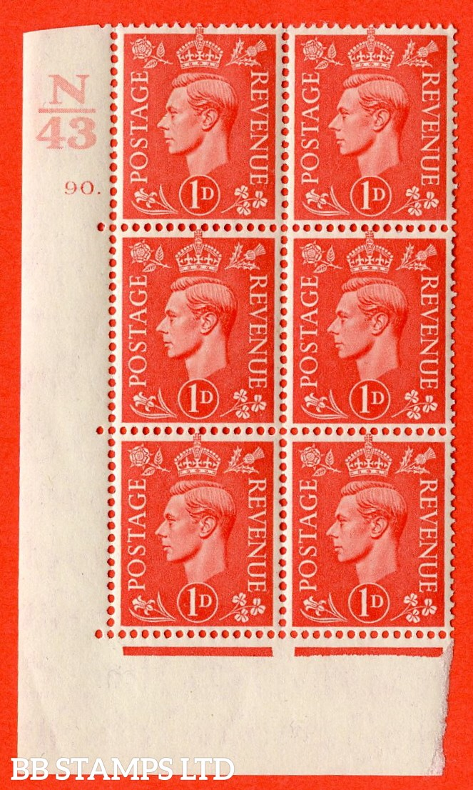 "SG. 486. Q5. 1d Pale scarlet. A fine lightly mounted mint ""  Control N43 cylinder 90 dot "" control block of 6 with perf type 5 E/I."