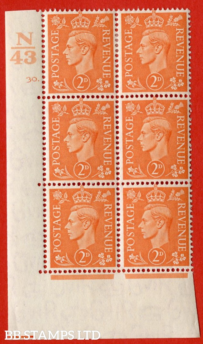 "SG. 488. Q11. 2d Pale Orange. A very fine lightly mounted mint "" Control N43 cylinder 30 dot "" control block of 6 with perf type 5 E/I."