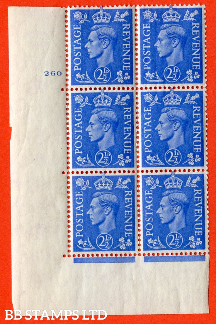 "SG. 489. Q14. 2½d Light ultramarine. A  superb UNMOUNTED MINT ""  No Control cylinder 260 no dot "" control block of 6 with perf type 5 E/I."