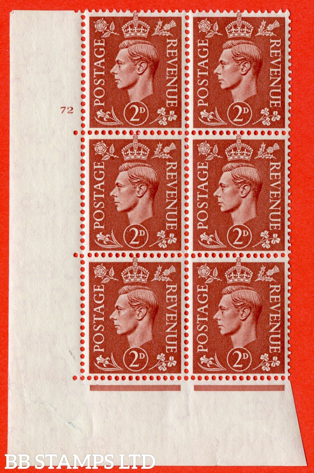 "SG. 506. Q12. 2d Pale Red-Brown. A superb UNMOUNTED MINT "" No Control cylinder 72 no dot "" control block of 6 with perf type 5 E/I."