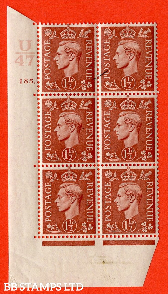 "SG. 487. Q8. 1½d Pale Red-Brown. A superb UNMOUNTED MINT "" Control U47 cylinder 185 dot "" control block of 6 with perf type 5 E/I."