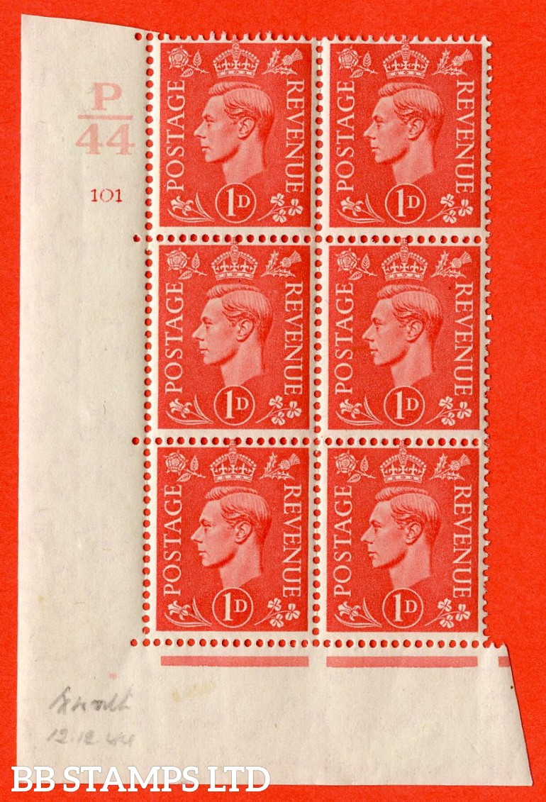 """SG. 486. Q5. 1d Pale scarlet. A fine mounted mint """" Control P44 cylinder 101 no dot """" control block of 6 with perf type 5 E/I."""