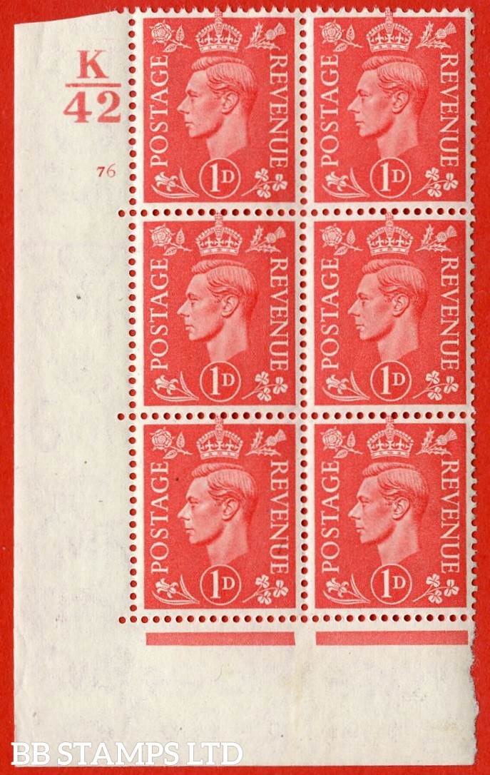 "SG. 486. Q5. 1d Pale Scarlet. A very fine lightly mounted mint "" Control K42 cylinder 76 no dot "" control block of 6 with perf type 5 E/I."