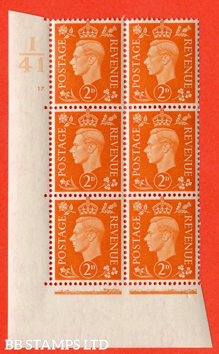 "SG. 465. Q10. 2d Orange. A very fine lightly mounted mint "" Control I41 cylinder 17 no dot "" control block of 6 with perf type 5 E/I."