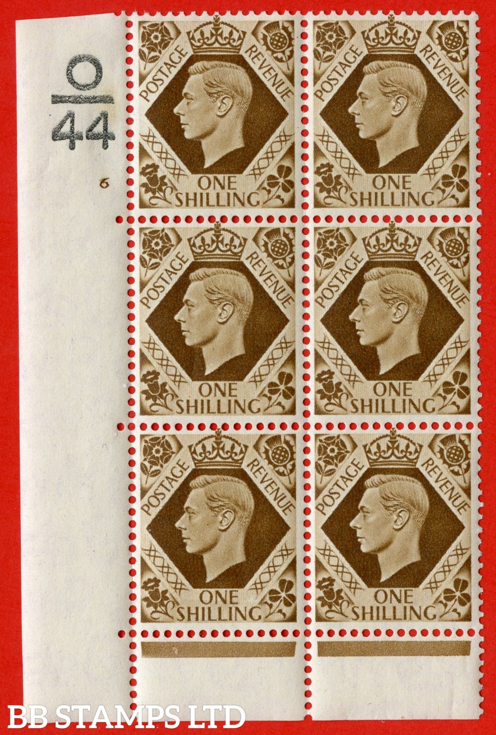 "SG. 475. Q28. a. 1/- Bistre-Brown. A fine lightly mounted mint "" Control O44 cylinder 6 no dot "" control block of 6 with perf type 6B E/P."