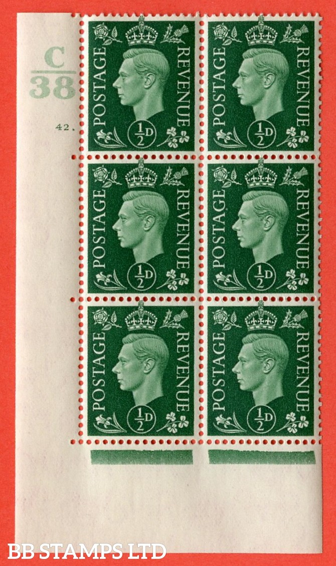 "SG. 462. Q1. ½d Green. A superb UNMOUNTED MINT "" Control C38 cylinder 42 dot "" block of 6 with perf type 5 E/I with marginal rule."