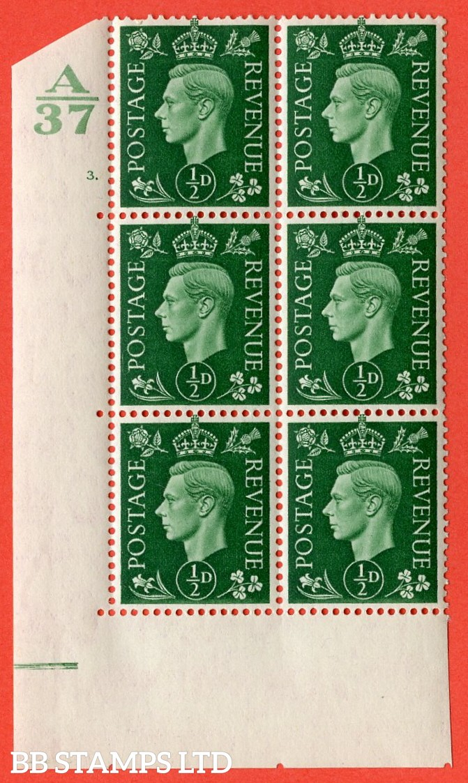 "SG. 462. Q1. ½d Green. A very fine lightly mounted mint "" Control A37 cylinder 3 dot "" block of 6 with perf type 5 E/I without marginal rule."
